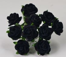 1.5cm MIDNIGHT BLUE (Black) Mulberry Paper Roses